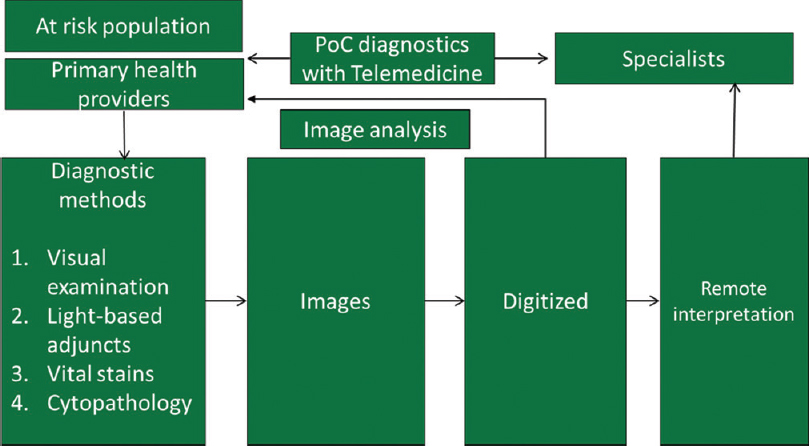 Figure 1: Workflow of point-of-care diagnostics that can facilitate remote interpretation and/or point-of-diagnosis reporting through image analysis