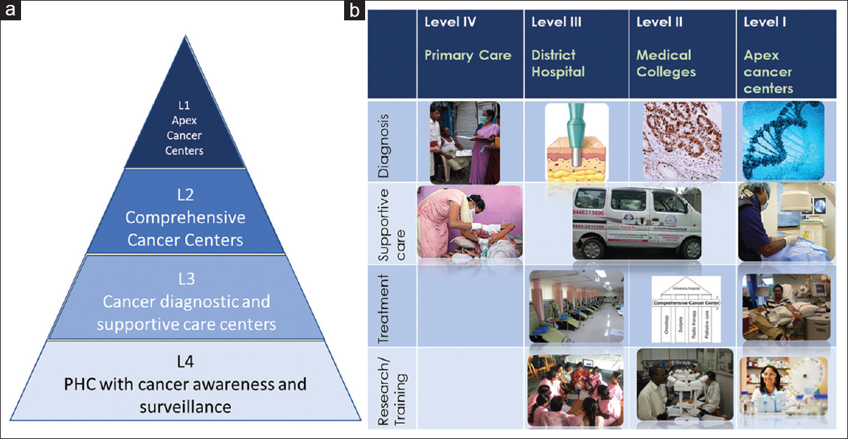 Figure 2: (a) Resource-stratified cancer treatment facilities. (b) Resources available at different levels of cancer care in a distributed decentralized model
