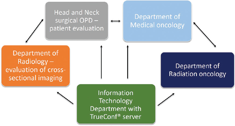 Figure 1: Schematic representation of the interdepartmental virtual joint clinic organized during coronavirus disease 2019 pandemic using local area network-based software (TrueConf)